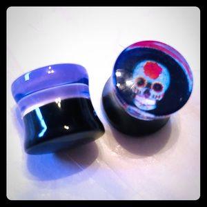 """Acrylic sugar skull dbl flared plugs 1/2"""" (12.5mm)"""